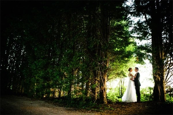 A wedding couple in the forest