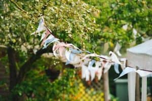 Bunting strung from a tree