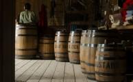 A group of wooden barrels