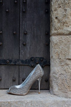 A shoe outside a door