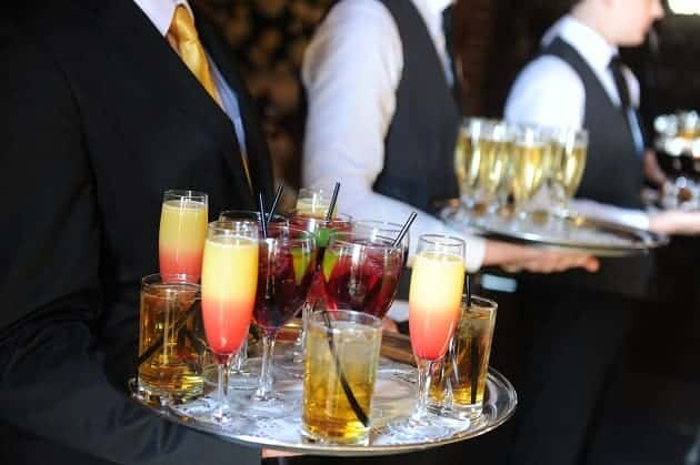 Wedding cocktails being served