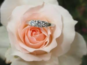 An engagement ring placed on a flower