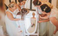 Bride and bridesmaids at Leez Priory